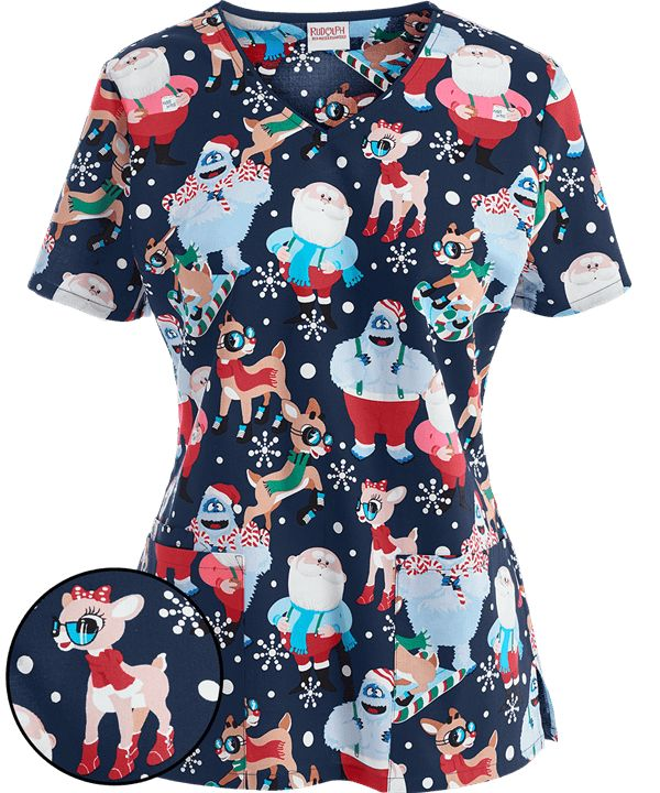 Cherokee Tooniforms Cool Rudolph Print Scrub Top | Pediatric Scrubs