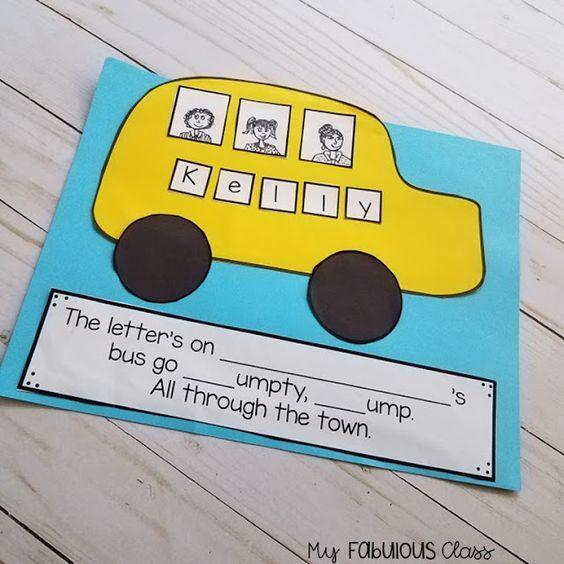 Free Bus Craft  Back to School Kindergarten  Name Activities