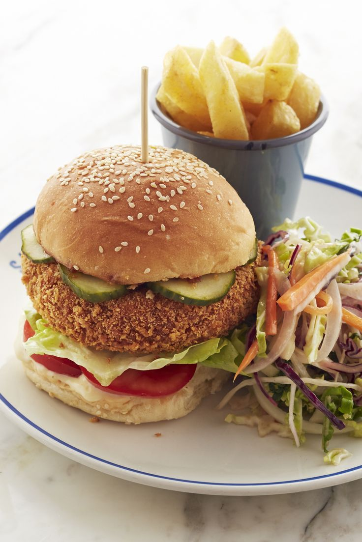 Josh Eggleton's veggie burger recipe is so packed full of herbs and spices that even the most devout meat eaters will find themselves converted. With chunky chickpeas and a deep-fried golden coating there's plenty of texture, too, and the addition of pickled cucumber and a lemon mayonnaise make this a truly special vegetarian supper. Josh also likes to add a spicy tomato and chilli chutney to his burgers, and serves with classic chips and coleslaw on the side.