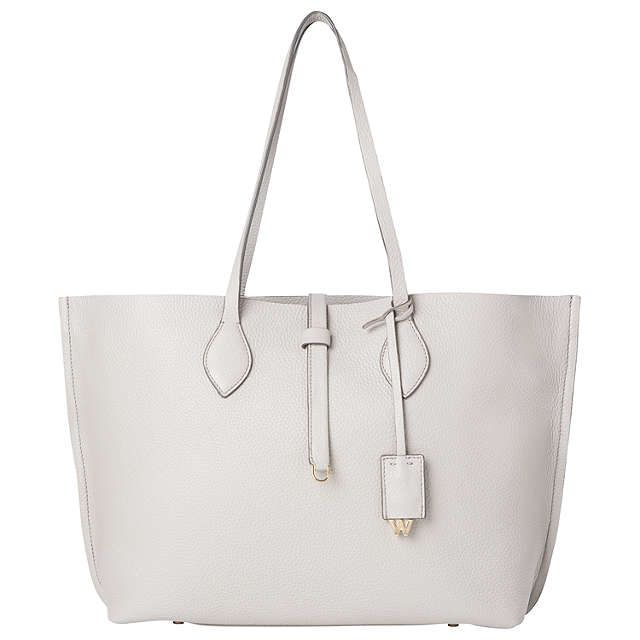 BuyWhistles Regent Soft Leather Tote Bag, Pale Grey Online at johnlewis.com