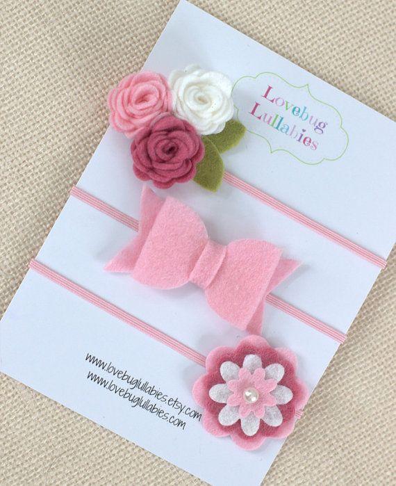 Baby Shower Gift Set Idea Felt Flower Bow Headband or Hair Clips Set of by LovebugLullabies
