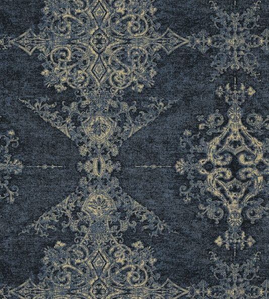 Arco Wallcovering A stunning non-woven wallcovering with great movement and texture. Featuring an ornate gothic design displayed in columns, printed in shades of indigo blue with metallic gold highlights.