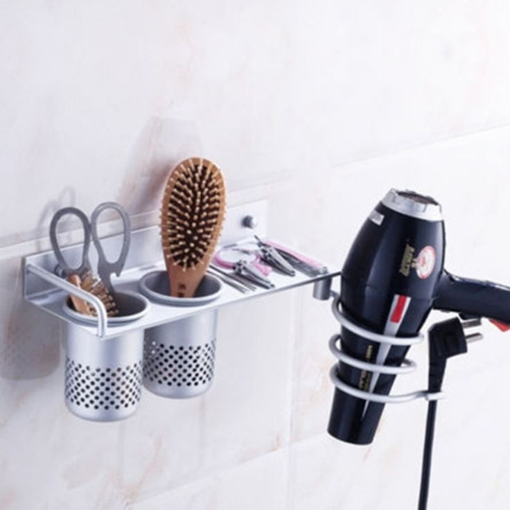 Bathroom Wall Mounted Hair Dryer Storage Rack Aluminum Shelf Comb Hairdryer Holder Spiral Stand