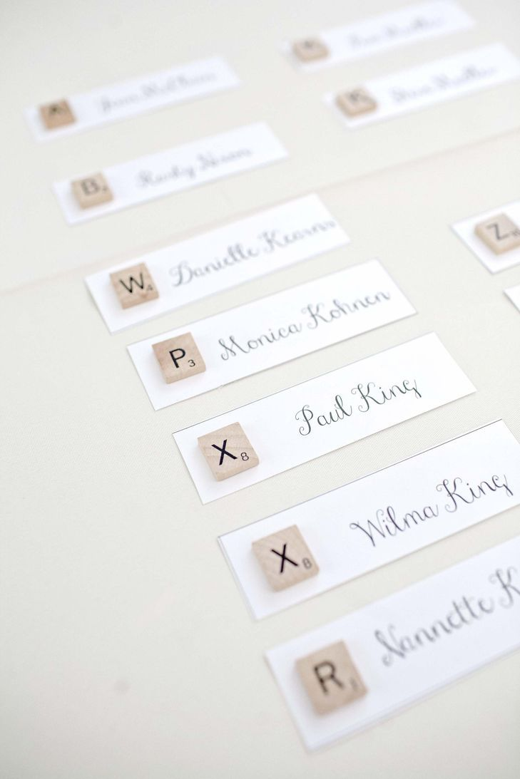 Scrabble themed name tags for a party or a wedding