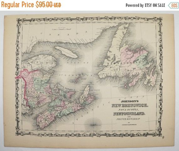 New Brunswick Map, Nova Scotia Newfoundland Map, Prince Edward Cape Breton Island Canada Map 1862 Johnson Map, Unique Canada Art Map Gift available from OldMapsandPrints.Etsy.com #MaritimeCanada #AntiqueMapofCanada #NewBrunswick #Newfoundland #NovaScotia
