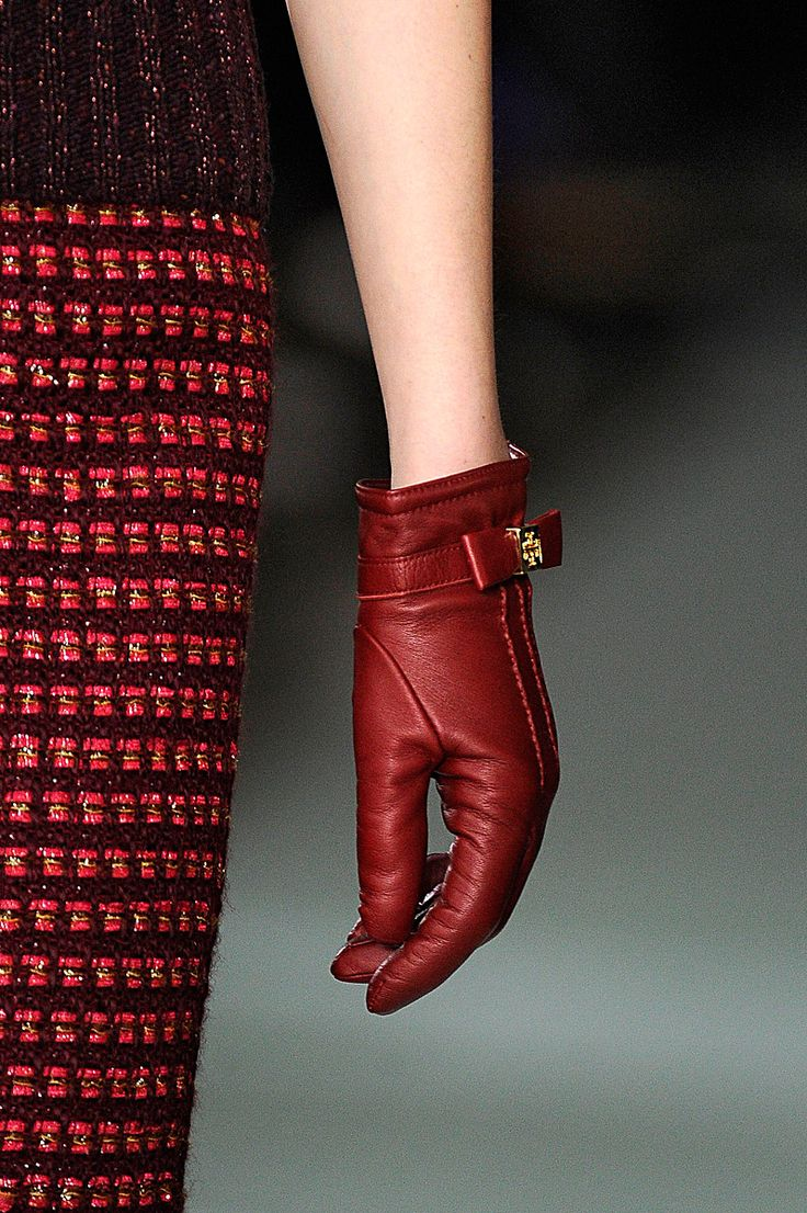 Black leather gloves brisbane - Tory Burch Fall 2012 Red Glovesleather