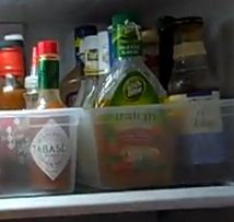 Plastic Shoe Box Totes to Corral Condiments, etc. in the Refrigerator #organize #kitchen #resolutions