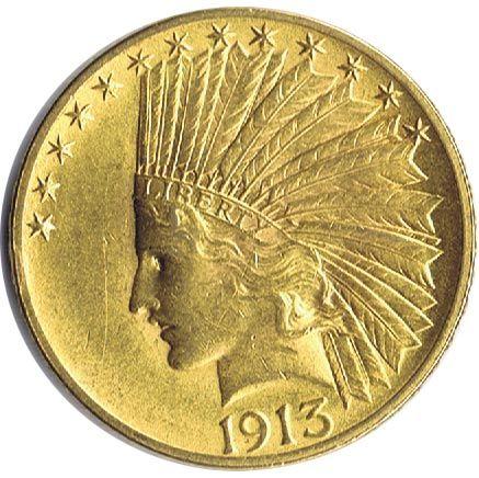 Moneda de oro 10 dolares Estados Unidos 1913 Indio
