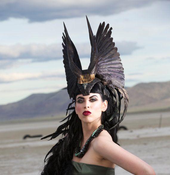 Reserved for Kelly Custom Headdress The Falconer Enchantress Feather Headdress