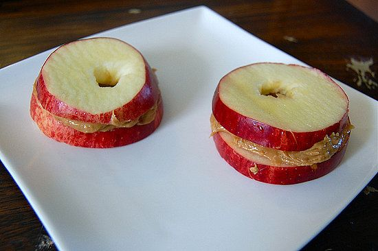 Apple & Peanut Butter Sandwiches. Such a healthy snack!  So simple, why can't I think of these things without pinning them?
