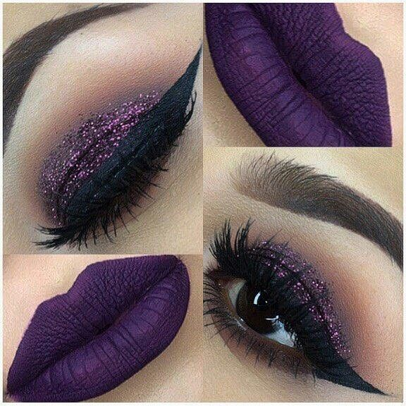 Purple lips and purple glitter. #makeup #eyeshadow #makeupslaves #lips #lipstick