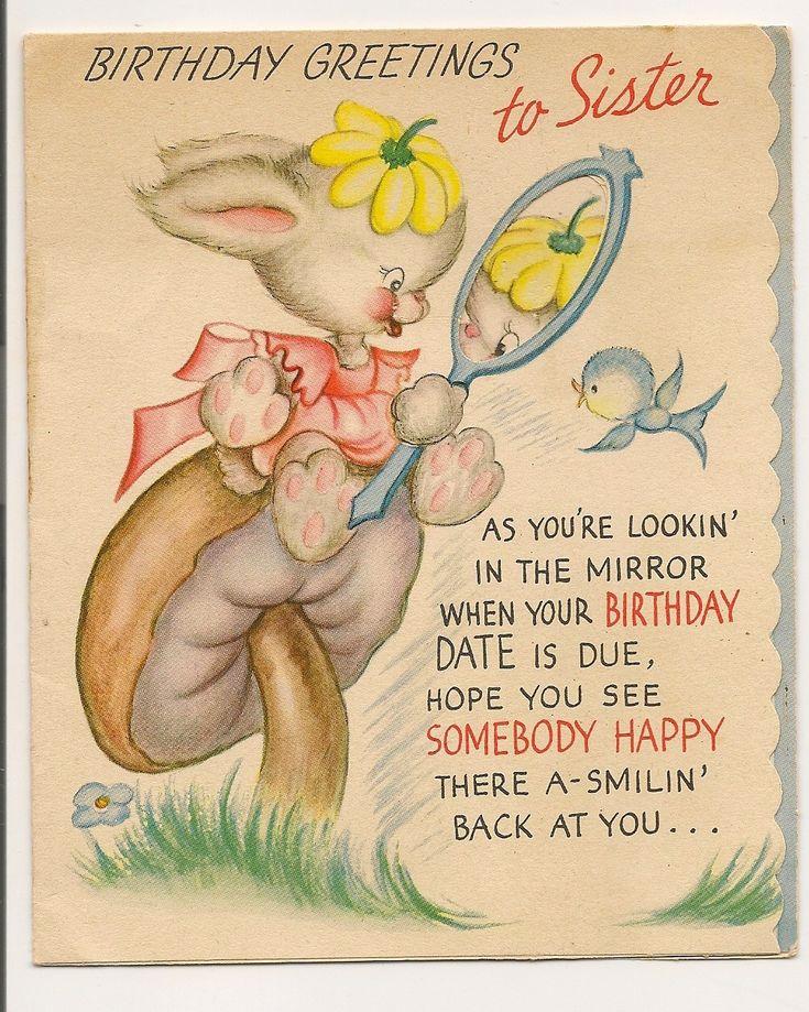 vintage birthday greetings card to sister.