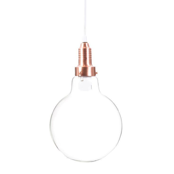 Lampada a sospensione a forma di lampadina in vetro e metallo ramato D 35 cm COPPER