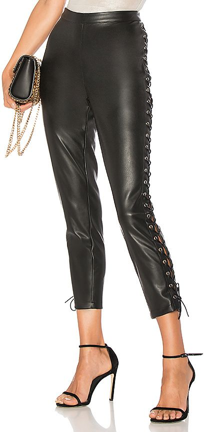 Cori Lace Up Faux Leather Pant #leatherpants #fallstyle #blackpants