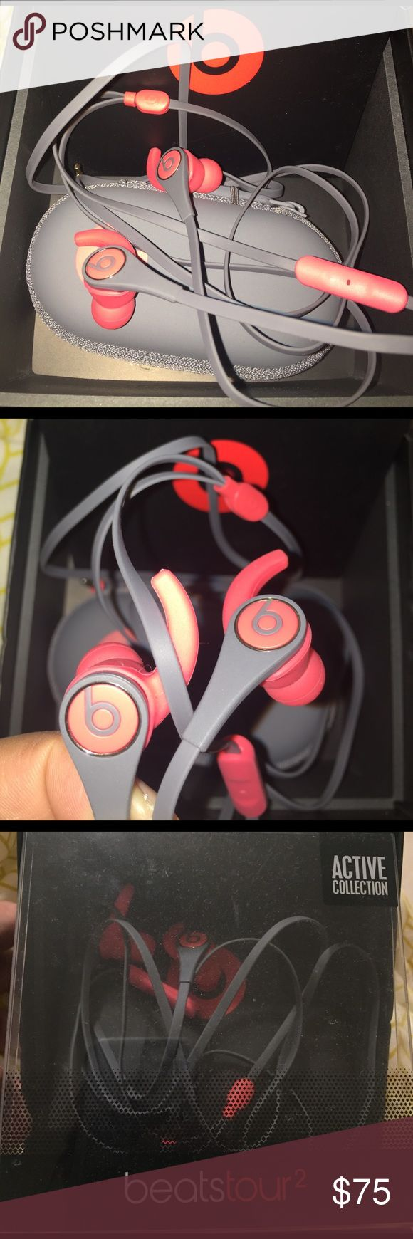 BRAND NEW BEATS TOUR 2 active collection BRAND NEW BEATS TOUR 2 active collection - beats by dre. in ear headphone, remote talk, sweat & water resistant, option ear tip sizes, removable secure-fit wingtip, carrying case - gray & red. Accessories