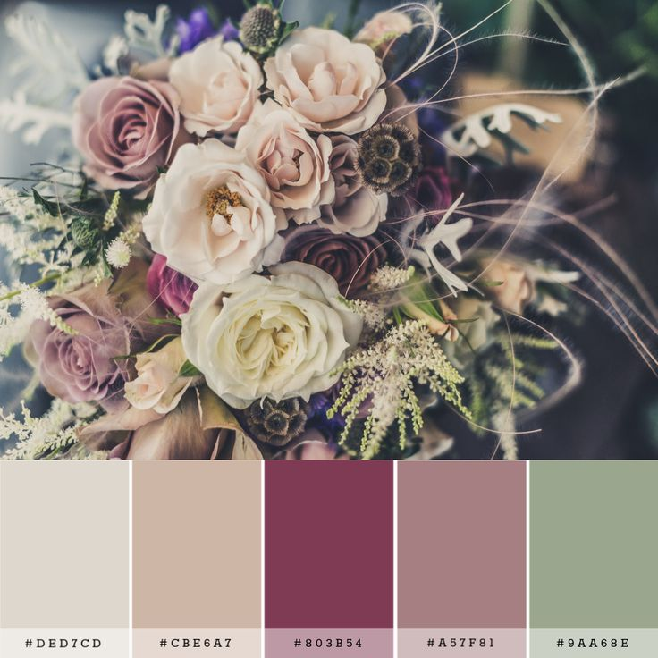 A Color Palette For A Rustic Romantic Wedding. Set In