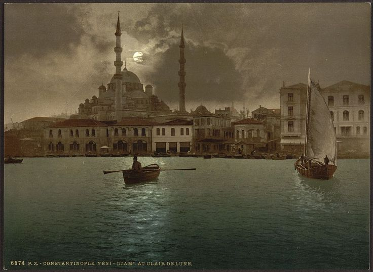 Yeni-Djama (i.e., Yeni Cami) by moonlight, Constantinople, Turkey; ca. 1890 -19001 photomechanical print : photochrom, color.