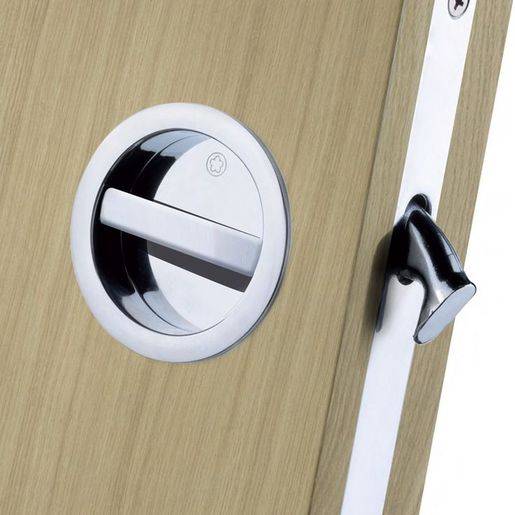 A stylish Manital ART55B bathroom lock for sliding doors with a round flush pull and turn button designed for virtually any of our sliding or folding doors or for any other interior door that you intend fitting as a sliding door. #slidingdoorhandleset #flushpullhandle #pocketdoorhandle