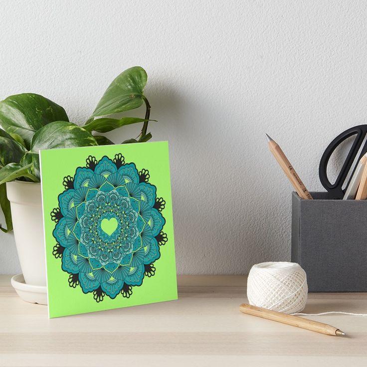 « blue mandala heart - mandala, coeur bleu » par LEAROCHE