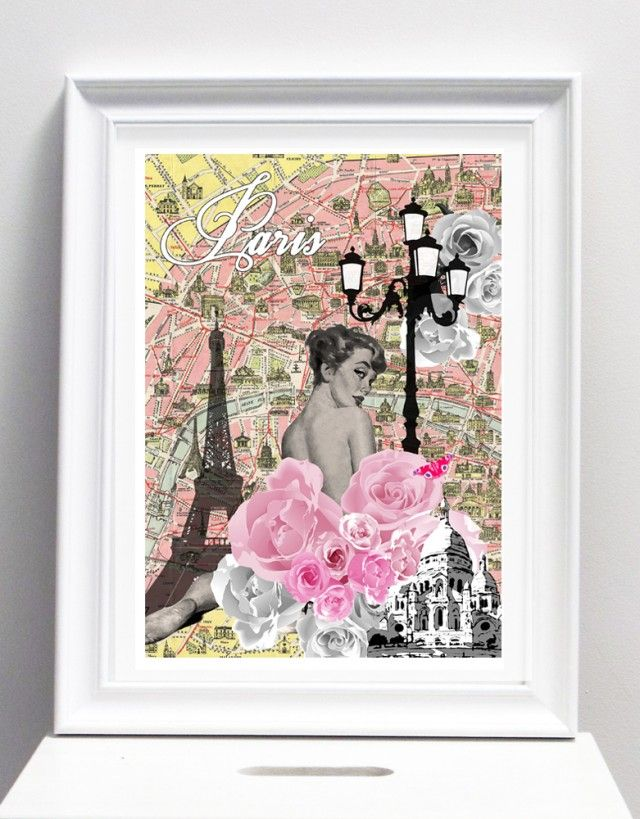 Paris city art collection, by I Love Design! #nordicdesigncollective #ilovedesign #paris #city #citylife #life #capital #france #frankrike #rose #roses #eiffel #eiffeltower #map #scareceur #church #tuorist #poster #collage #mixedmediaart #oink #vintage #yellow #pastel #girl #woman #butterfly