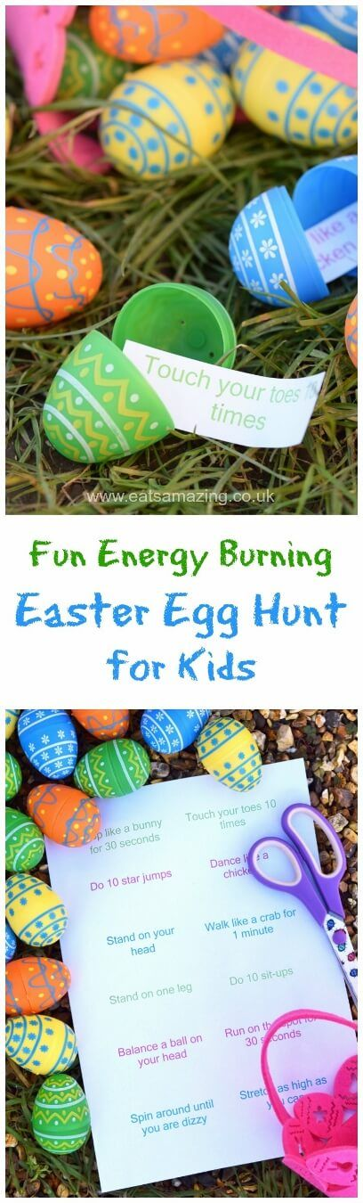 Fun Easter egg hunt idea for kids - fill the eggs with energy burning excercise ideas - fun and healthy alternative to a chocolate egg hunt with free printable list
