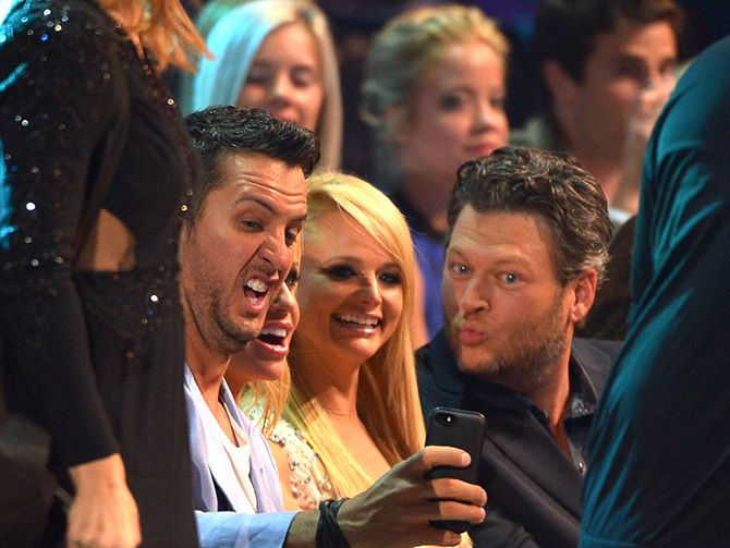 Country Cam:Luke Bryan, Caroline Bryan, Miranda Lambert and Blake Shelton snap a selfie while in the audience! Nice selfie faces!  Read more: http://www.wpoc.com/photos/main/country-cam-82079/22676660/#/36/22670984#ixzz34uuq2l1R
