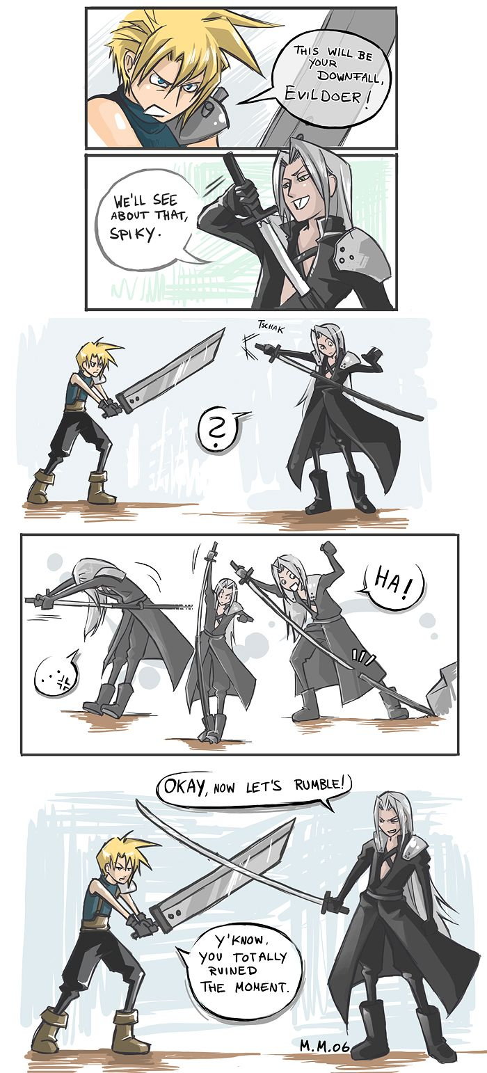 The Final Battle by Rennerei on Deviant Art - Final Fantasy VII fan art  This is why there's no sheath for his sword