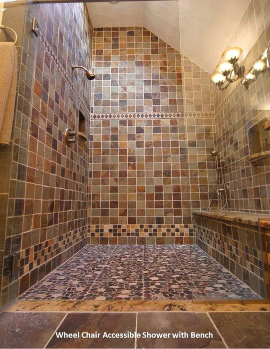 www.njwconstruction.com  Wheelchair accessible bathroom, aging-in-place shower, tile shower with bench