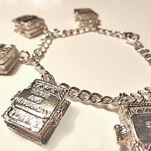 Keep your favourite books with you at all times with this beautiful charm bracelet collecting all of Austen's works. Open each book and find the above famous line from Pride & Prejudice!