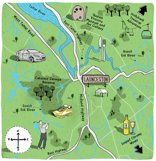 Illustrated Maps by Adam James Turnbull, via Behance
