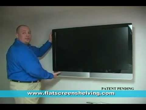 Hide TV cables Floating shelf for flat screen television wall mounts TV setup - YouTube