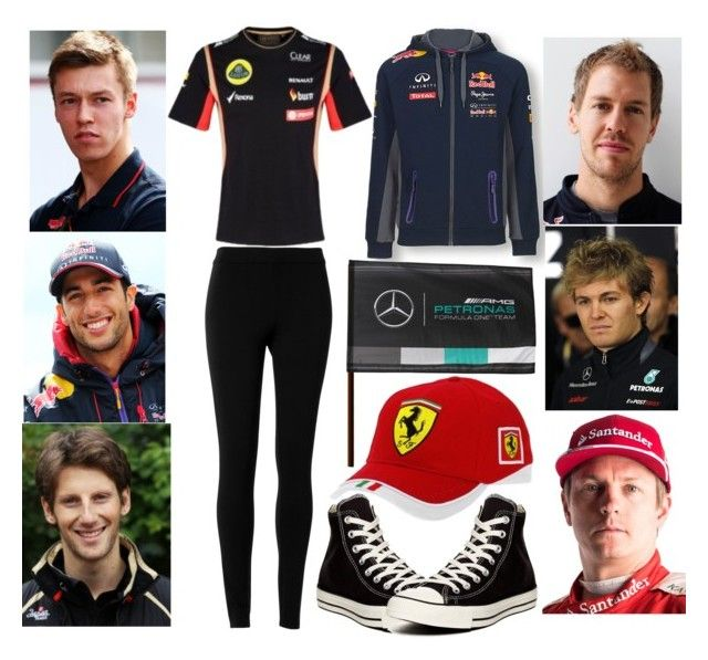 Watch Grand Prix, where race my boyfriend Sebastian Vettel and my best friends Nico Rosberg, Kimi Räikkönen, Daniil Kvyat, Daniel Ricciardo and Romain Grosjean by slytheriner on Polyvore featuring Max Studio, Converse, Ferrari and Nico