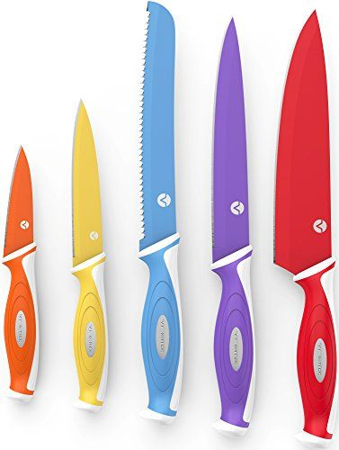 Vremi Professional Chef Knife Set  Colorful Kitchen Knife Set with 5 Cooking Knives and Matching Blade Covers  10 Piece Set with Carving Serrated Paring Utility and Chef Knives in Cool Colors ** You can get more details by clicking on the image.