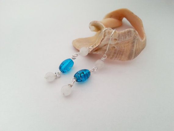 Delicate sterling silver earrings bridal wedding gift package blue earrings sale gift idea for her blue glass snow quartz