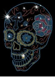 NEW! Day Of The Dead Sugar Skull With Cross & Rose Sparkly Rhinestuds