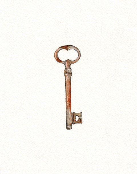 Key To Open Love Watercolor Print Vintage Chic Skeleton Key Wedding Gift Watercolor Print Skeleton Key Wedding Keys Art