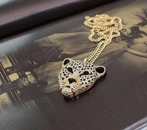 2016 Crystal Leopard Tiger Head Rhinestone Pendants Necklaces Sweater  Vintage Retro Women Jewelry N130