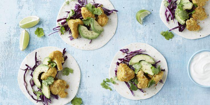 Crispy Cauliflower Tacos via @iquitsugar