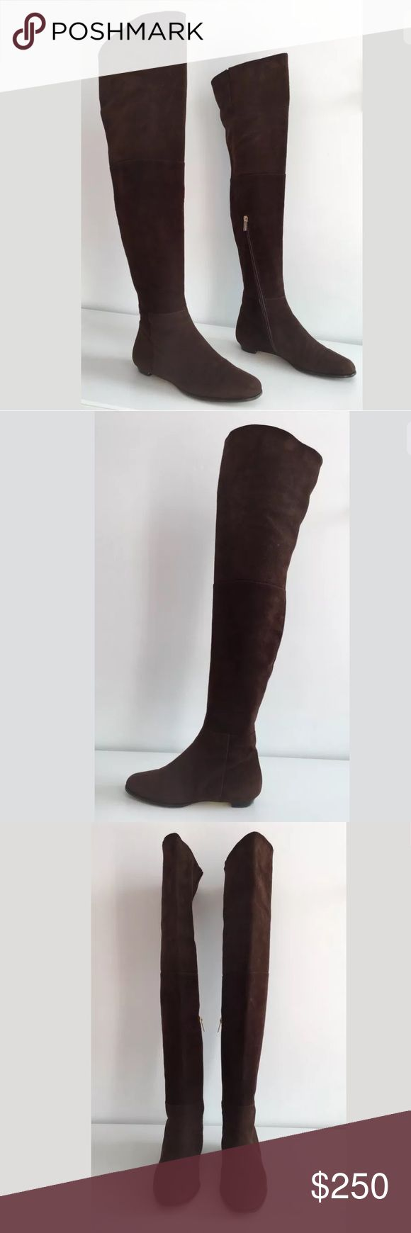 """JIMMY CHOO EDNA OVER THE KNEE SUEDE FLAT BOOTS JIMMY CHOO Edna  -Condition: Excellent Condition. -No signs of wear above soles. -Size: EU 36. -Model: Edna. -Color: Brown. -Soft Italian suede upper.  -Tapered round toe.  -Side partial zip closure.  -Leather lined; Leather sole. -Heel measures: 0.5"""". -Shaft measures 24½'' tall.  -Circumference: 16'' around widest point. -Made in Italy. -Retails for $1,250.00 -100% Authentic. -Same Day Shipping. Jimmy Choo Shoes Over the Knee Boots"""