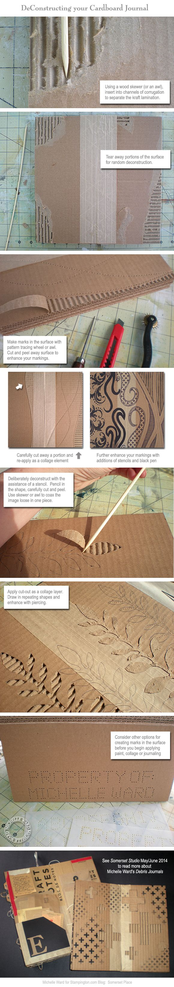 One of guest artist Michelle Ward's duo of DIY tutorials [On the Blog]. After you learn how to construct a cardboard journal, see how to deconstruct it with these step-by-step photos and instructions from Michelle!
