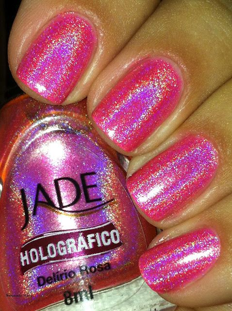 @Jordan!!! You need this so i can borrow it!!! Love this! Jade Polish Delirio RosaDelirio Rosa, Pink Sparkle, Jade Holographic, Pink Nails, Polish Delirio, Holographic Hussie, Jade Polish, Nails Polish, Holographic Nails