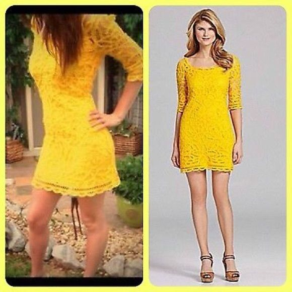 HP PICK!!! Antonio Melani Antonio Melani Colette. Yellow , mango crochet cotton lace cocktail versatile dress with 3/4 sleeves. ANTONIO MELANI Dresses
