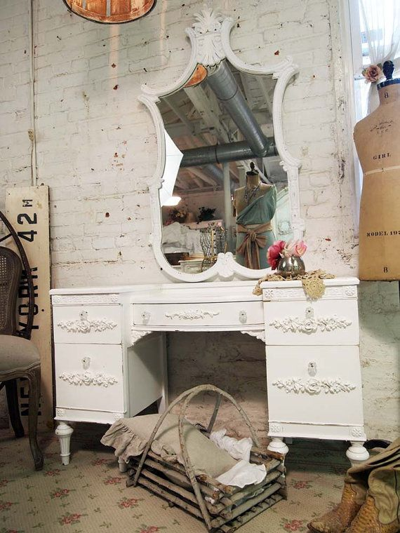 Painted Cottage Chic Shabby White Romantic by paintedcottages, $395.00Chic Furniture, Shabby White, Shabby Chicks, Cottages Chic, White Romantic, Painting Cottages, Chic Shabby, Romantic Vanities, Cottages Romantic