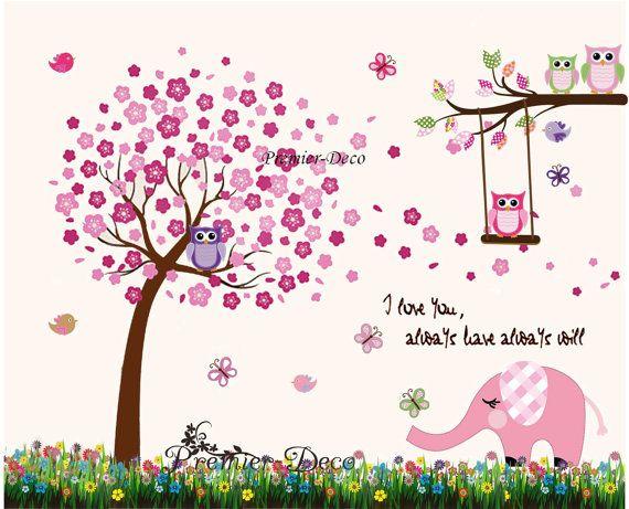 Große Kirsche Baum, niedliche Eulen, Schmetterling, Elefant Kinderzimmer Baby Mädchen Zimmer Wandtattoo, abnehmbare Wandtattoo