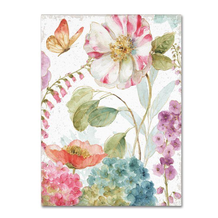 Lisa Audit 'Rainbow Seeds Flowers II Crop on Wood Cream' Canvas Art