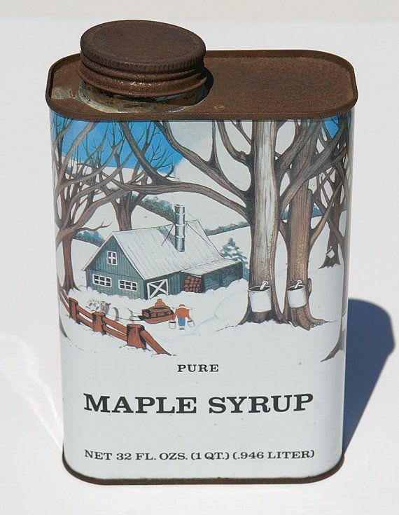 Vintage Rare  Pure Maple Sap Syrup Tin