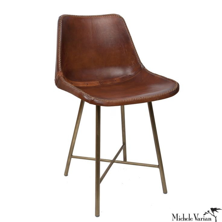Leather School Chair With Brass Base