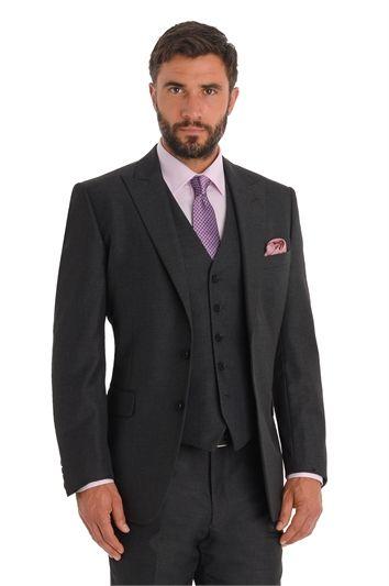 Moss Esq. Regular Fit Charcoal  Mix and Match Peak Lapel Suit Jacket