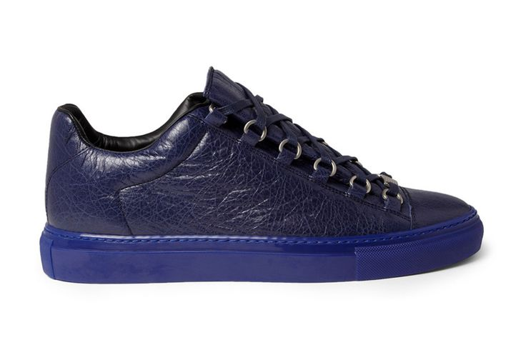 Balenciaga Arena Creased Navy Leather Sneakers