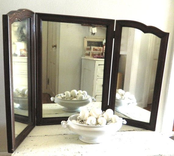 Photo Gallery Website Vintage Tri Fold Mirror Wood Frame on Etsy